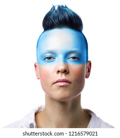 Conceptual portrait of a young punk woman with blue makeup. Isolated on white background