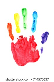 Conceptual poster with colorful handprint. LGBT rainbow Palm print isolated on white.