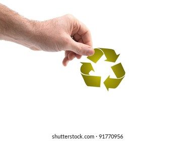 A conceptual recycle image held by a hand