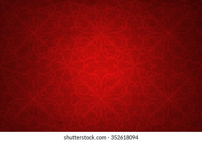 Conceptual red old paper background, made of grungy or vintage texture stained dirty surface banner  ideal for holiday, Christmas, decoration or retro design with a pattern decoration ornament printed