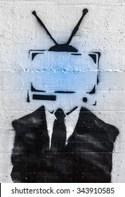 Conceptual representation of the mind control on people by media.