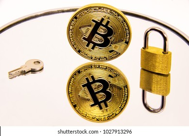 Conceptual representation of the safety or security of bitcoin on a white mirror surface.