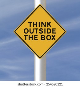 A conceptual road sign indicating Think Outside the Box