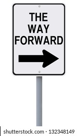 Conceptual road sign indicating The Way Forward