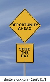 A conceptual road sign on opportunity (against a blue sky background)