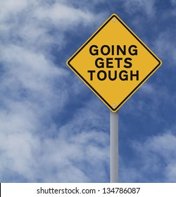 Conceptual road sign warning of tough times ahead
