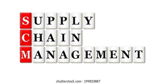 Conceptual SCM Supply Chain Management acronym on white