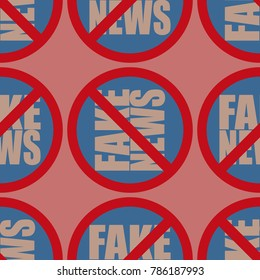 Conceptual seamless pattern with logo fake news. Global problems of humanity.