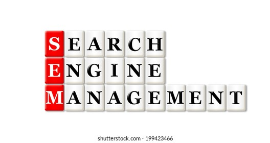 Conceptual SEM Searh Engine Management acronym on white