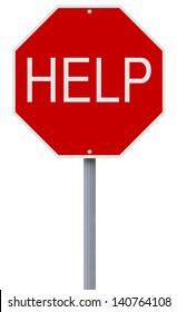 A conceptual stop sign indicating Help
