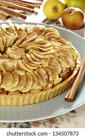 conceptual studio shot of an apple pie