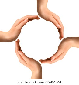 Conceptual symbol of four human hands making a circle on white background with a copy space at the centre
