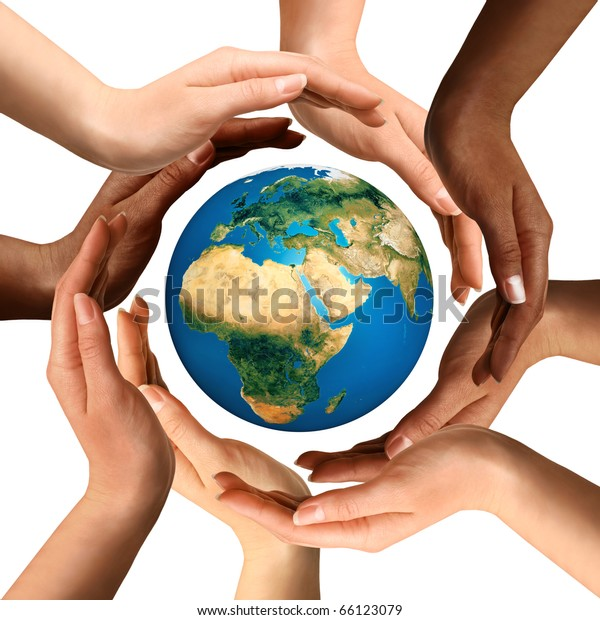 Conceptual symbol of multiracial human hands surrounding the Earth globe. Unity, world peace, humanity concept. Isolated on white background.