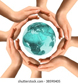 Conceptual symbol of the planet Earth surrounded by human hands. Environment and ecology concept.