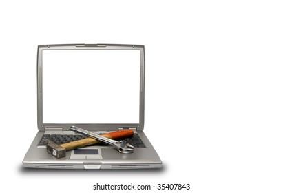 conceptual technology and help. Computer and tools.