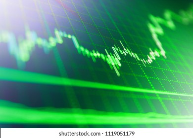 Conceptual view of the foreign exchange market. Blue background with stock chart. Growing business graph with rising up trend. Blue screen of finance data. Market report on blue background.