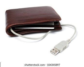 Conceptual view of a wallet with cable and computer USB plug as a symbol of netbanking