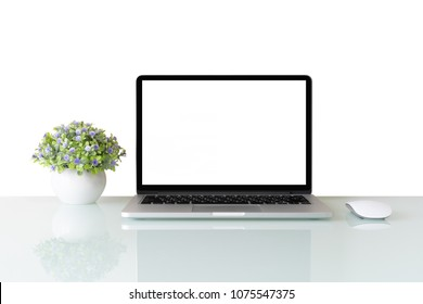 Conceptual workspace, Laptop computer with blank white screen isolated on white background
