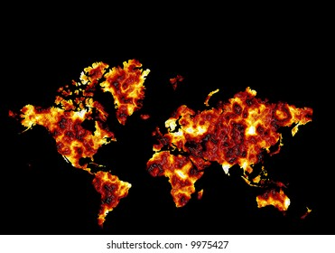 Conceptual world map burning and overheating showing effects of global warming and climate change with  black space on top for text
