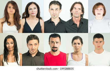 Concerned and forgetful shot of adults showing confused and concerned gesture, multiple shots combined