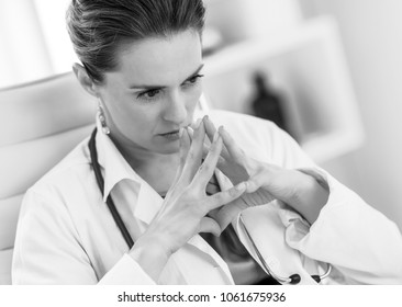 concerned medical doctor woman in office
