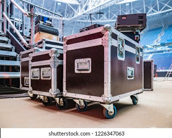 Concert activity. Cases for transportation of equipment. Stage equipment. Boxes on the wheels.