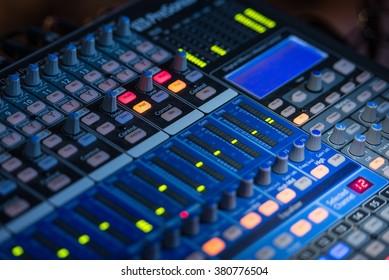 Concert Audio Mixer Closeup Photo. Audio Technology.