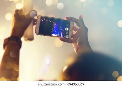 Concert crowd, blurred background