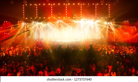 Concert crowd having fun at a rock concert.