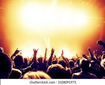 Concert crowd raising hands