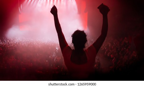 Concert crowd with young girl having fun at indoor comcert with lights and smoke.