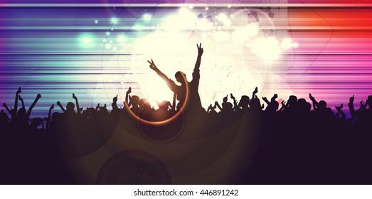 Concert, disco party. Vintage style illustration