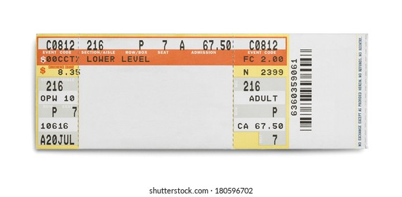 Concert Event Ticket Isolated on White Background.