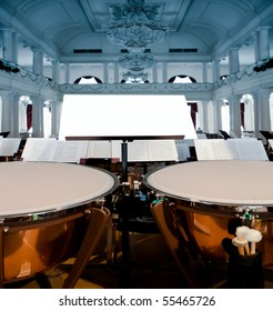 Concert Hall, in the foreground stand with a clean sheet and cymbals