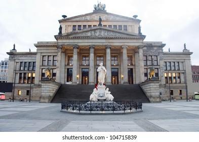 Concert Hall Konzerthaus  in The Gendarmenmarkt Berlin Germany statue of Germany's poet Friedrich Schiller
