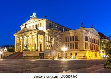 Concert Hall (Konzerthaus) on Gendarmenmarkt square at night, Berlin, Germany