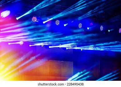 concert light show, Stage lights, background blur