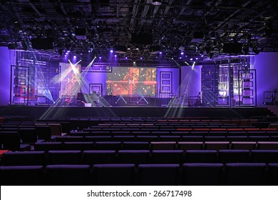 Concert stage with lights and digital panels