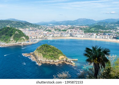 The Concha Bay in the city of San Sebastian with Santa Clara Island. Basque Country of Spain.