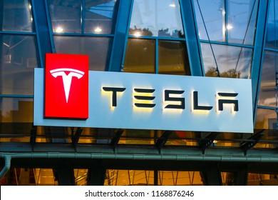 Concha Zaspa, Ukraine - July 20, 2018: Tesla sign at the car salon