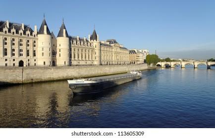Conciergerie and seine river in Paris