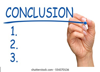 Conclusion and Checklist - female hand writing text on white background