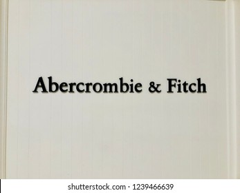 Concord, California - November 11, 2018: Abercrombie & Fitch logo is seen on storefront. Abercrombie & Fitch is a clothing retailer that focuses on upscale casual wear for young consumers.
