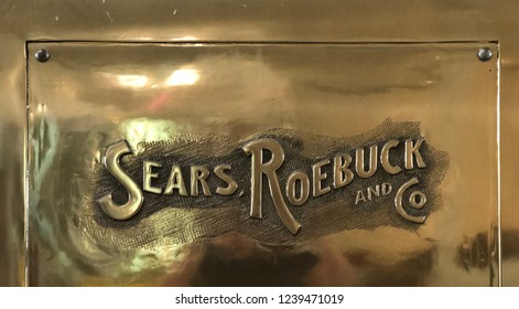 Concord, California- November 11, 2018: Sears Roebuck & Company logo on sign at storefront. Sears is an American department store chain. Sears was once the largest retailer in America.