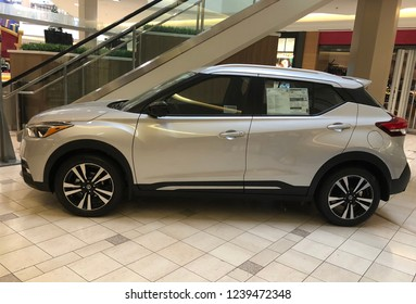 Concord, California- November 11, 2018: Nissan Kicks on display at mall. The all new Nissan Kicks is a crossover vehicle with 1.6 liter 4 cylinder engine and 125 hp.