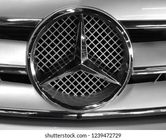 Concord, California - November 11, 2018: Close up of Mercedes-Benz car logo. Mercedes-Benz is a global automobile manufacturer and a division of the German company Daimler AG.