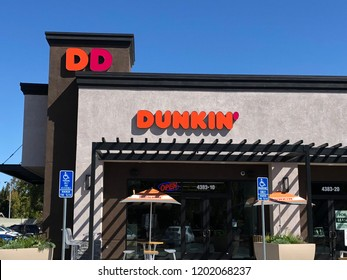 CONCORD, CALIFORNIA - OCTOBER 5, 2018: Dunkin Donuts is an American coffee and baked goods chain.  In September 2018, Dunkin' Donuts officially announced that it would shorten its name to Dunkin',