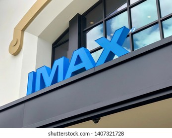 CONCORD, CALIFORNIA USA – MAY 17 2019: IMAX theaters are found worldwide and feature larger and more realistic film experiences for the audience.