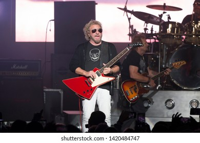 Concord, CA/USA: 4/20/19: Sammy Hagar performs with The Circle at Concord Pavilion. He's an American rock vocalist, guitarist, songwriter, musician known for his solo career and years with Van Halen.