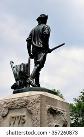 Concord, Massachusetts - July 9, 2013:  Daniel Chester French's Minuteman statue  was erected in 1875 to commemorate the 100th anniversary of the North Bridge Revolutionary War battle in 1775